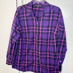 Lane Bryant Purple Plaid Button Down Shirt 18